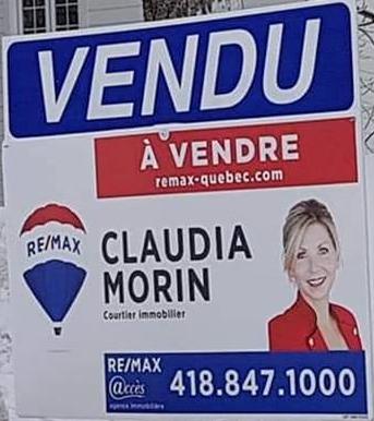 Claudia Morin courtier immobilier Remax vendu à L'ancienne-Lorette 1396 Ste-Madeleine